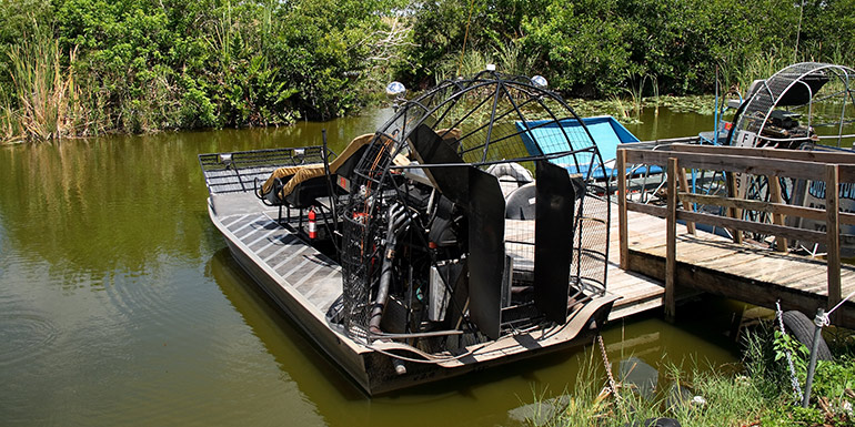 Airboats at a dock
