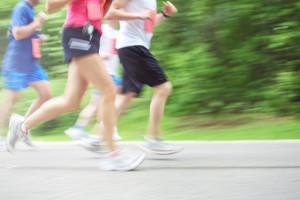 Marathon runners (motion blur)