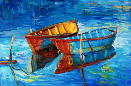 Painting of canoes
