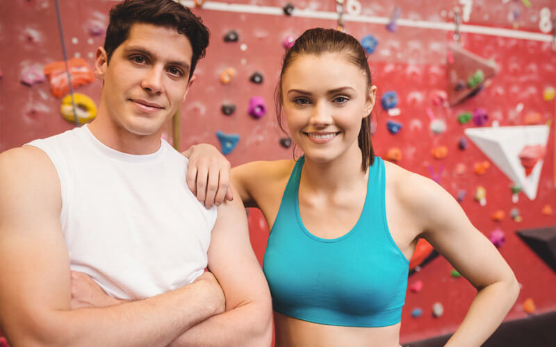 smiling couple at climbing gym in Melbourne