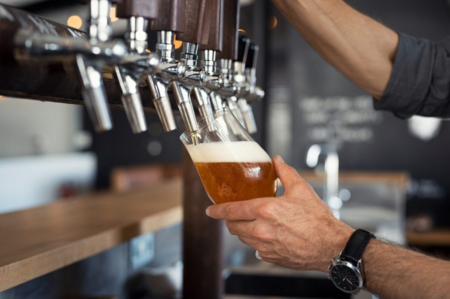 Pouring a beer at a Melbourne, FL brewery