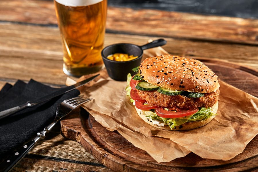 Burger and beer at a brewery near Melbourne, FL
