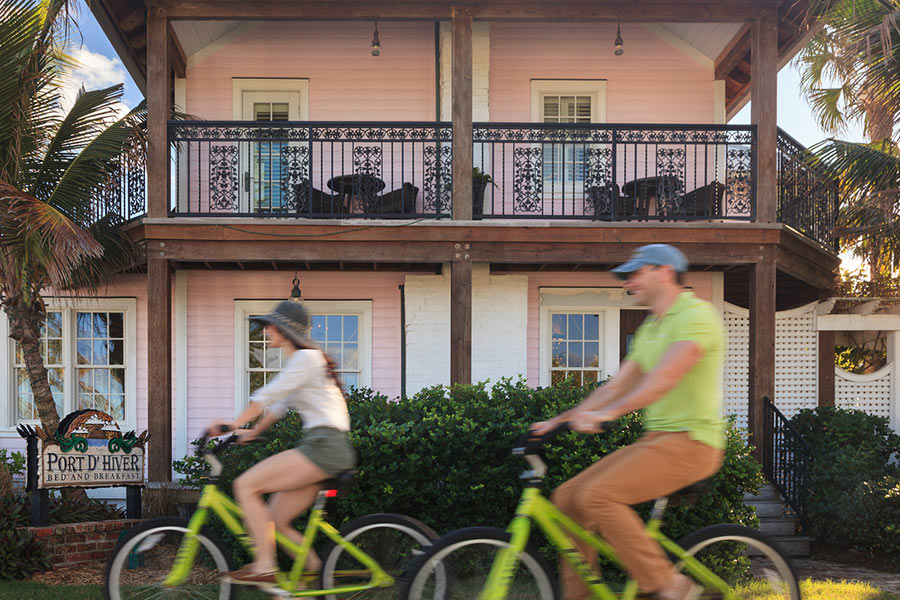 Couple Biking at the Best Place to Honeymoon in FL