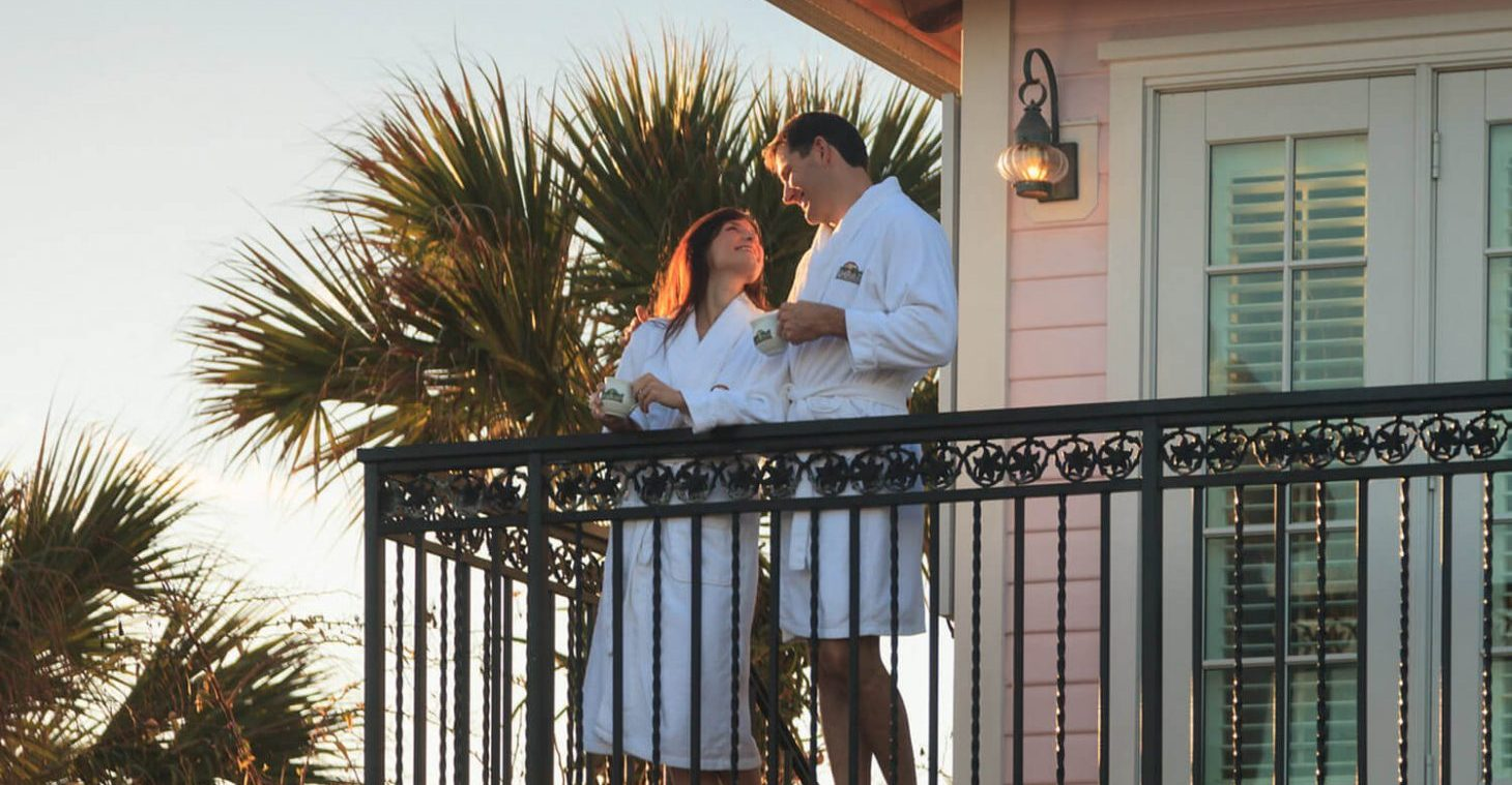 Couple on Private Balcony at Romantic Melbourne Beach Inn
