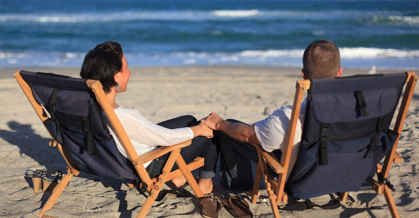 Couple relaxing on Melbourne beach in Florida
