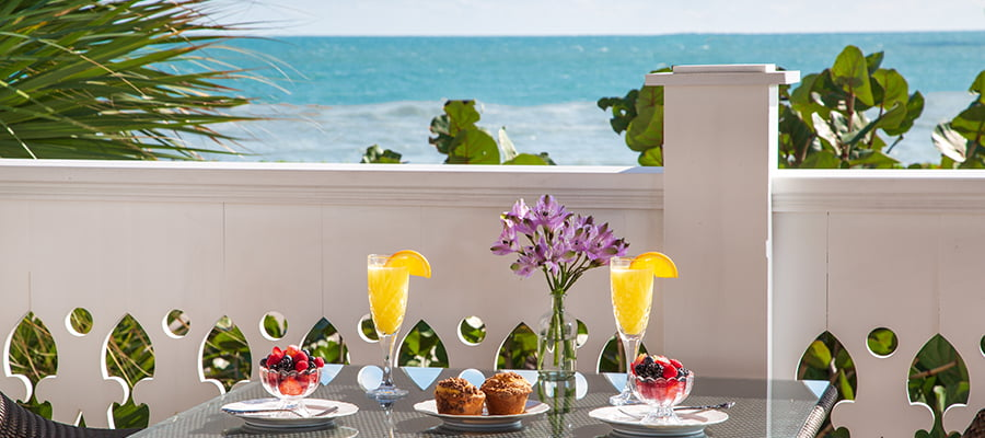 Breakfast on the balcony with an ocean view at Melbourne Beach hotel