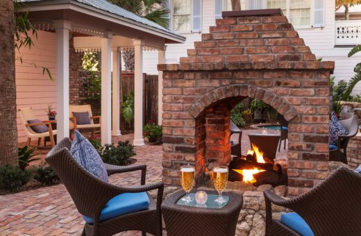 courtyard firepit on a fall getaway in Florida