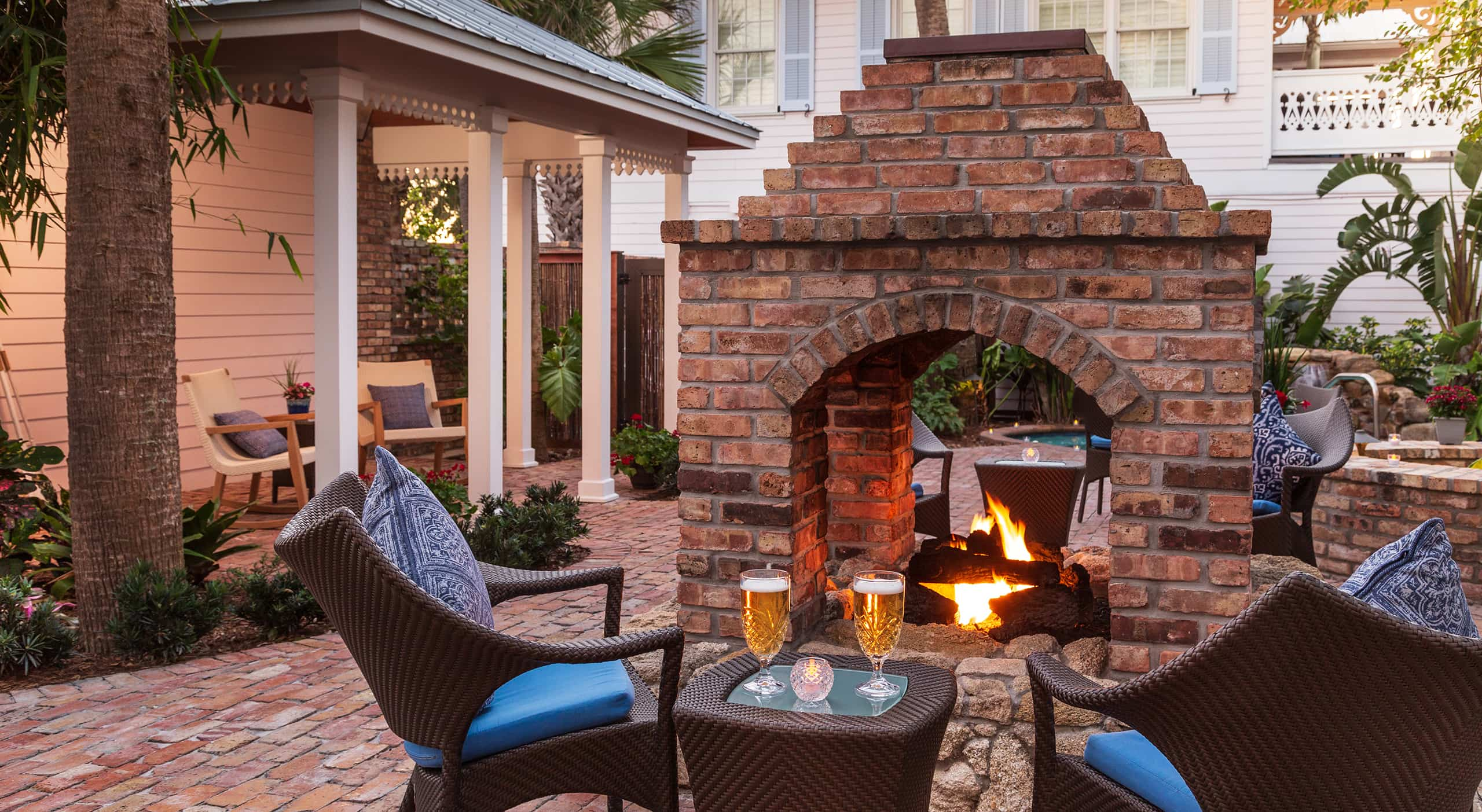 Firepit and hot tub in courtyard